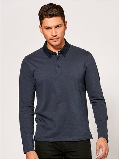 Stripe long sleeve polo shirt