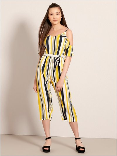 Teen stripe bardot jumpsuit