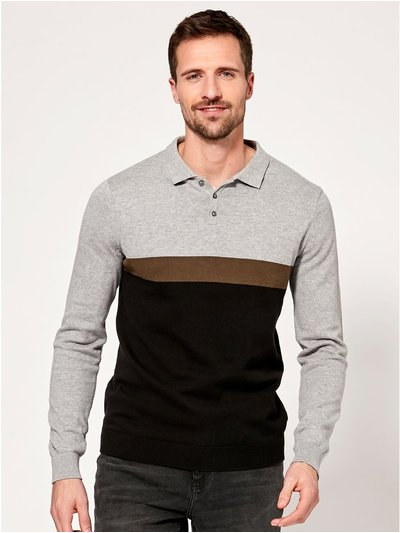 Colour block long sleeve polo top
