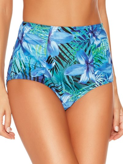 Palm print high waist control bikini bottoms