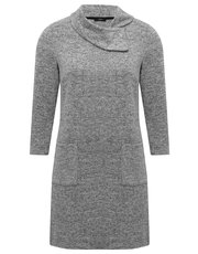 Split neck knitted dress