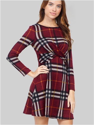 Izabel checked knot front dress