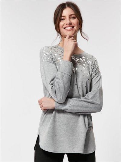 Silver foil sweat top