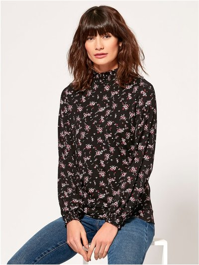 Floral shirred neck top