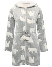 Polar bear print fleece zip front dressing gown