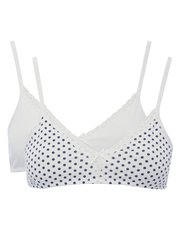 Polka dot non wire bras two pack