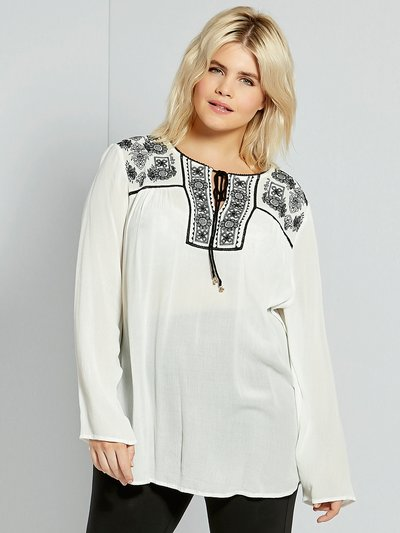Plus floral embroidered peasant top