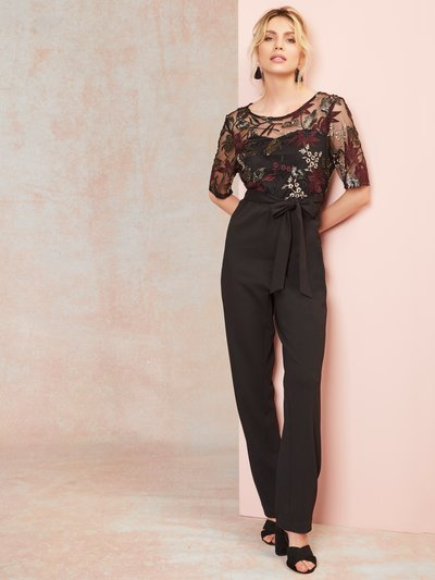 Sequin mesh embroidered jumpsuit