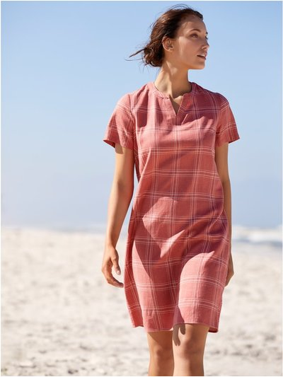 Check linen shift dress