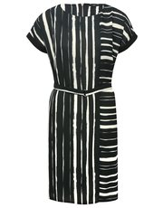 Striped D-ring shift dress