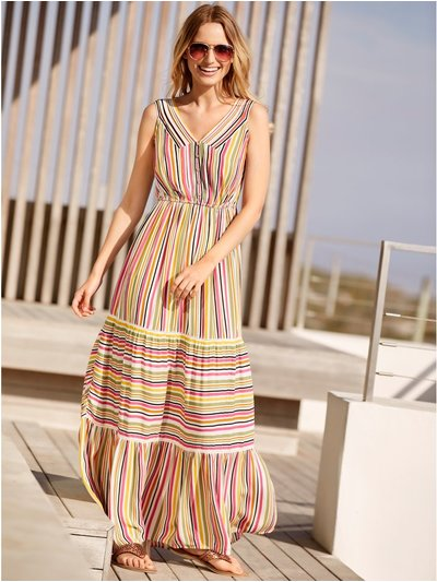 Petite stripe tiered maxi dress