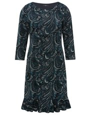 Flocked paisley shift dress
