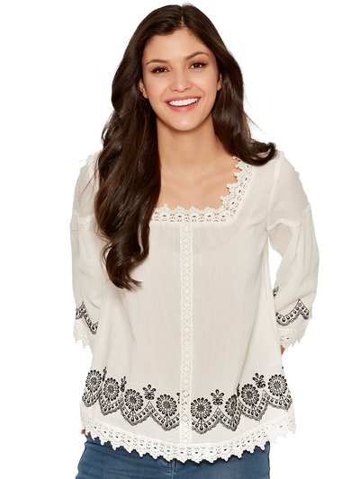 Lace trim embroidered peasant top