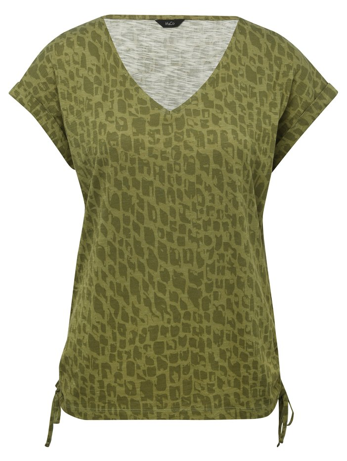 1ef6a40d38f1d ... Animal print v neck t-shirt ...