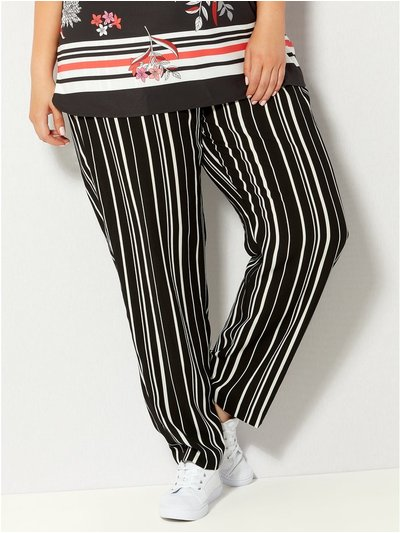 Plus stripe crepe trousers