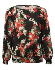 Floral frill neck blouse