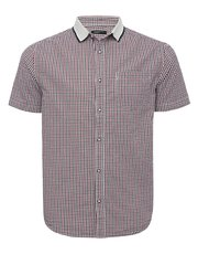 Checked polo collar short sleeve shirt