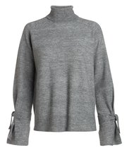 Pieces tie sleeve roll neck jumper