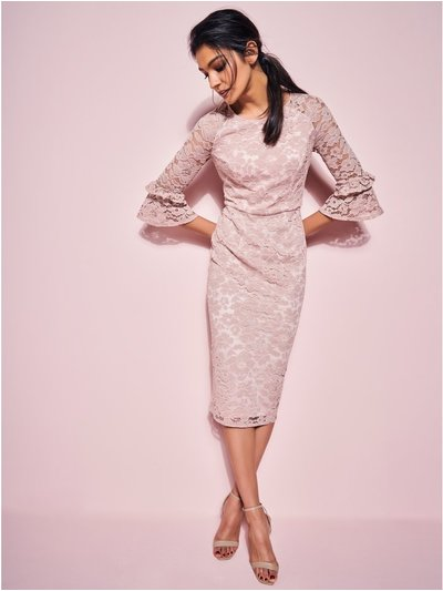 GLAMOUR blush lace pencil dress