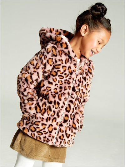 Leopard print faux fur coat (3-12yrs)