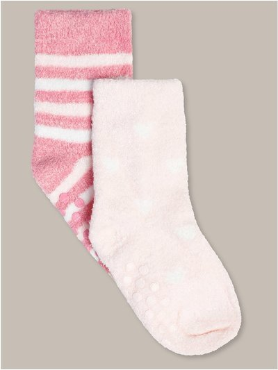 Heart and stripe fluffy socks two pack (newborn-24mths)