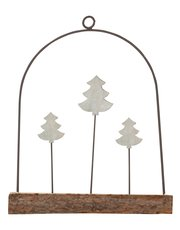 Wood and metal tree ornament