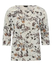 Floral print lace trim top
