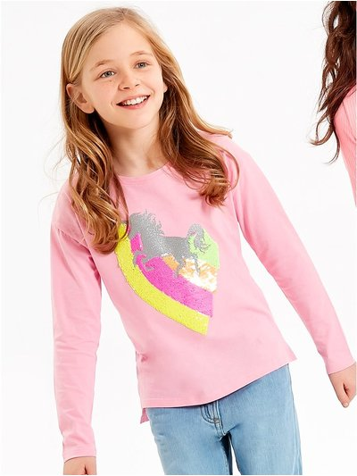 Two way sequin unicorn t-shirt (3 - 12 yrs)