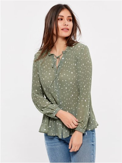 Pleated spot tie neck top