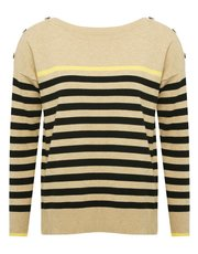 Stripe button trim jumper