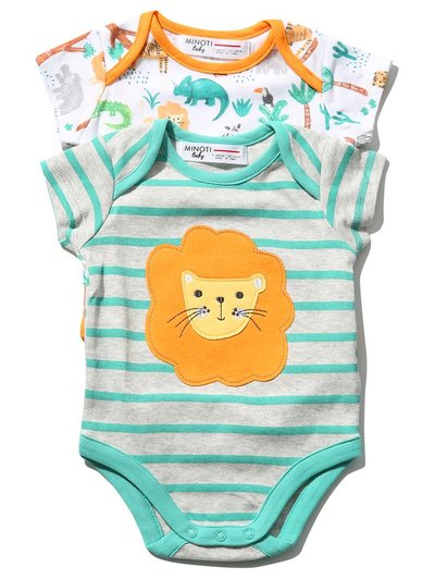 Minoti animal bodysuit two pack (0mths-1yr)