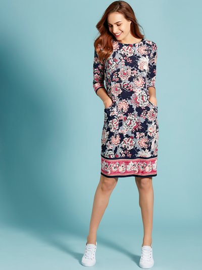 Floral border tunic dress