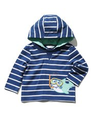 Shark applique hooded t-shirt