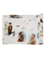 Otter print fleece throw