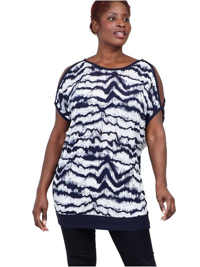 Izabel Curve tie dye cold shoulder t-shirt