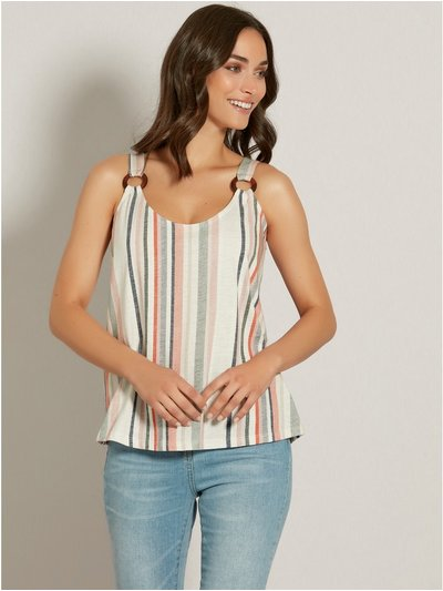 Striped ring strap cami top