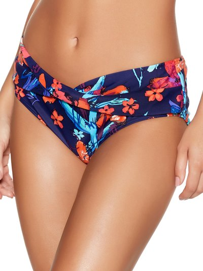 Tropical print roll over bikini bottoms