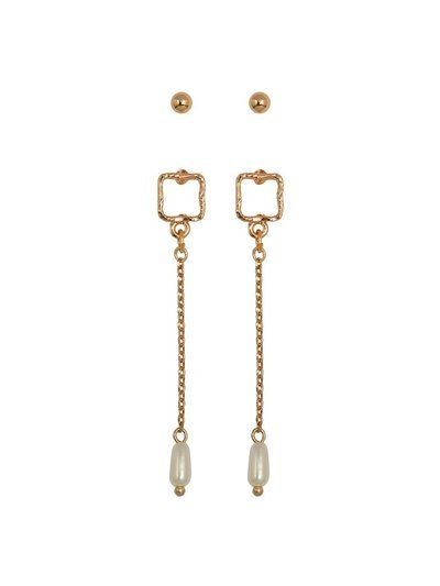 Square drop earrings two pack