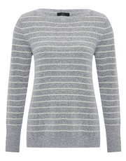 Boucle striped button back jumper