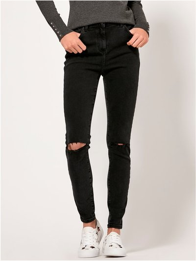 Ripped knee skinny jeans