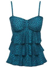 Animal print frill front multiway tankini top