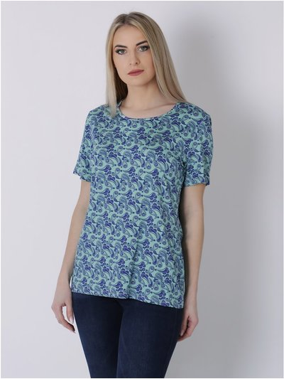 Wrapt London Paisley Print Short Sleeve Top