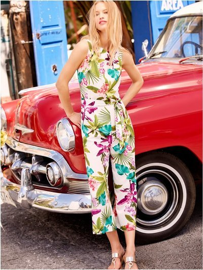 Tropical floral cropped jumpsuit
