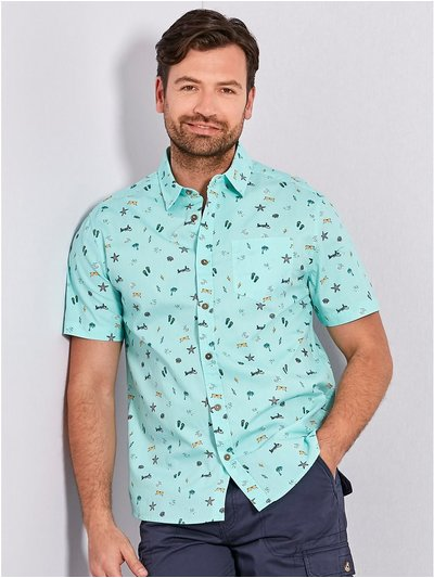 Holiday print short sleeve shirt