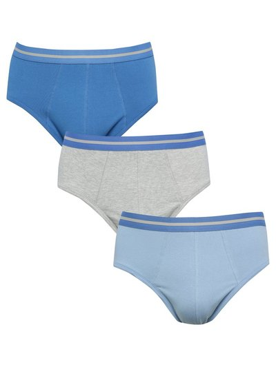 Plain stretch cotton briefs three pack