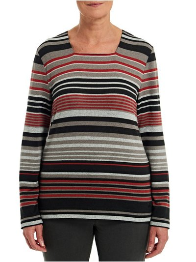 TIGI square neck striped top