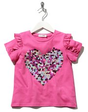 Kite and Cosmic Frill sequin heart t-shirt