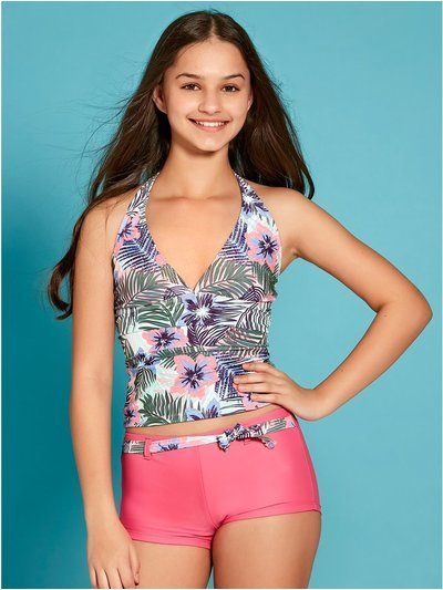Teen tropical floral tankini