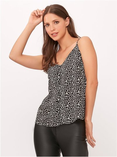 Animal print button through cami top