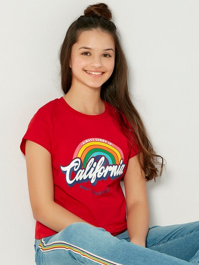 Teens' California rainbow slogan t-shirt